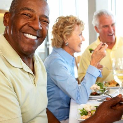 senior people eating