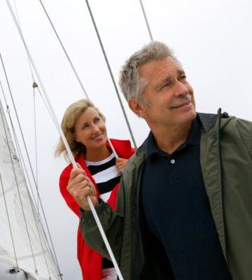 senior people on a boat