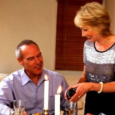 older couple enjoying dinner